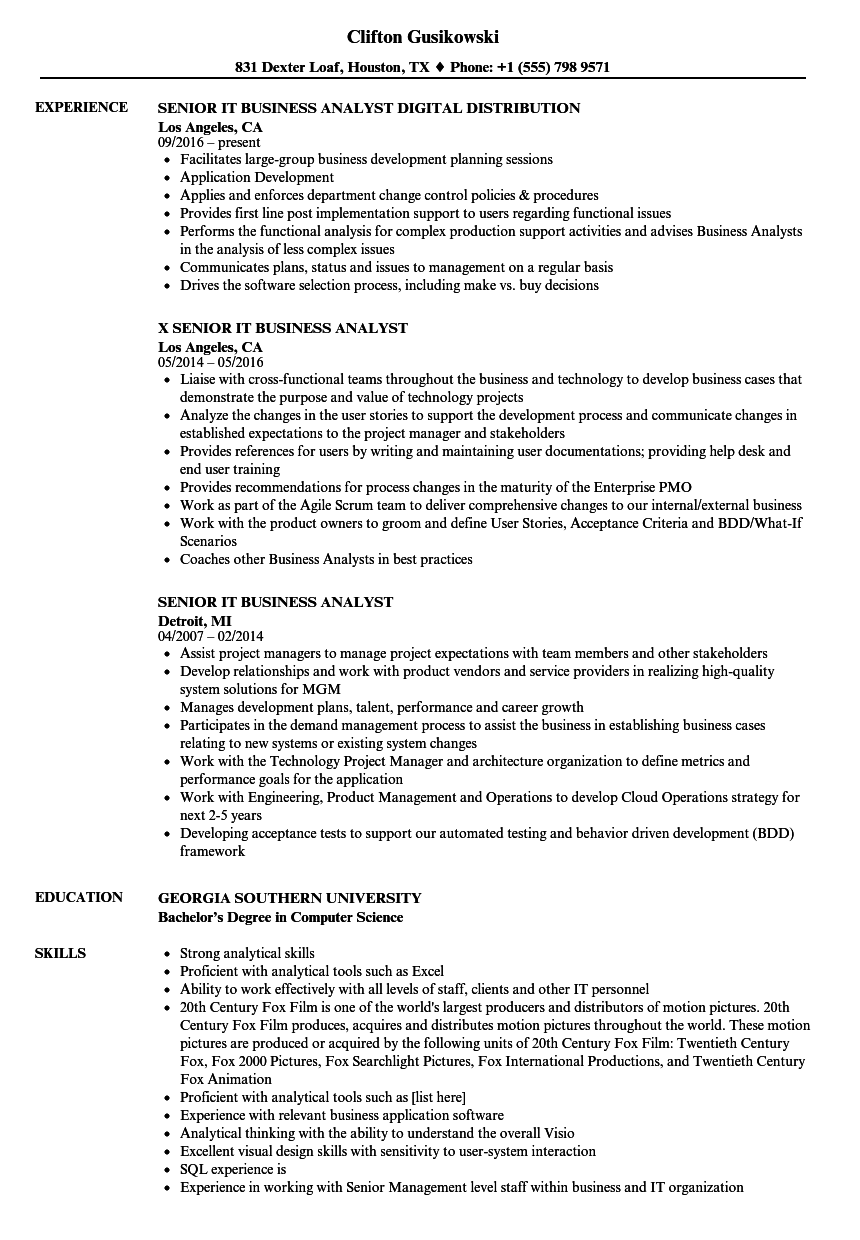 download senior it business analyst resume sample as image file