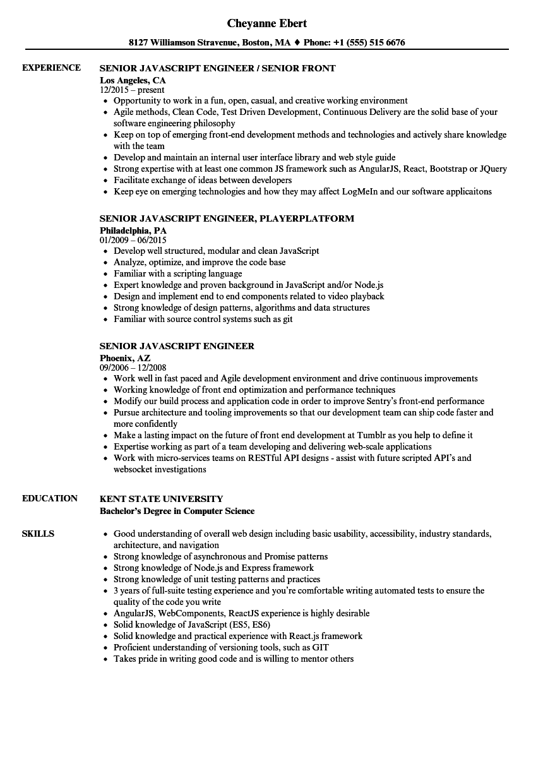 senior javascript engineer resume samples  velvet jobs