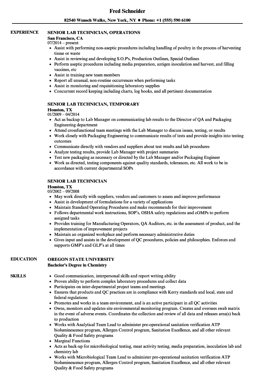 Senior Lab Technician Resume Samples | Velvet Jobs