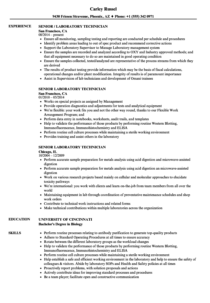 senior laboratory technician resume samples