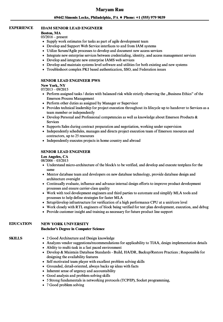 senior lead engineer resume samples