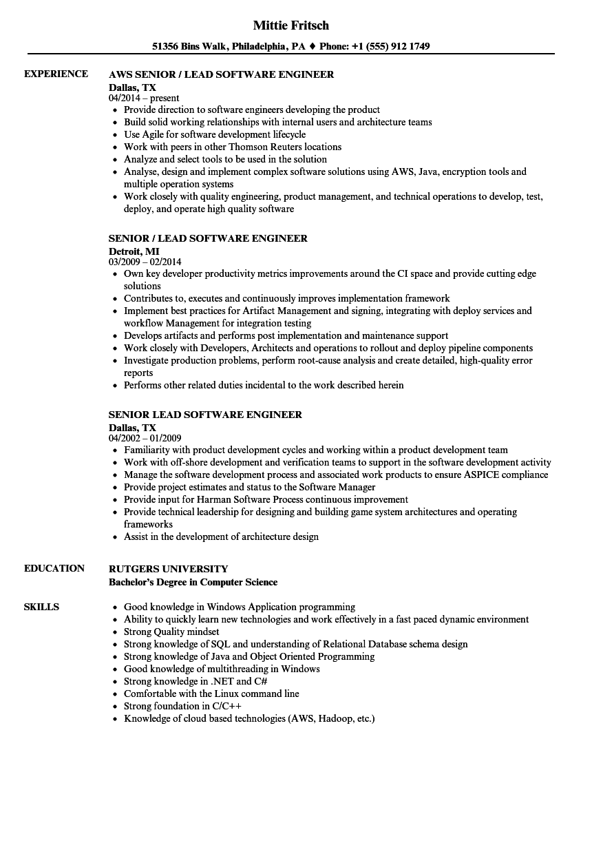 senior    lead software engineer resume samples