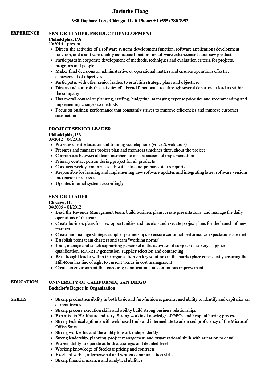 Senior Leader Resume Samples