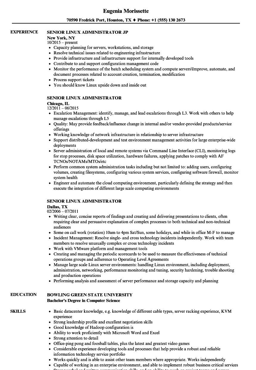 Senior Linux Administrator Resume Samples | Velvet Jobs