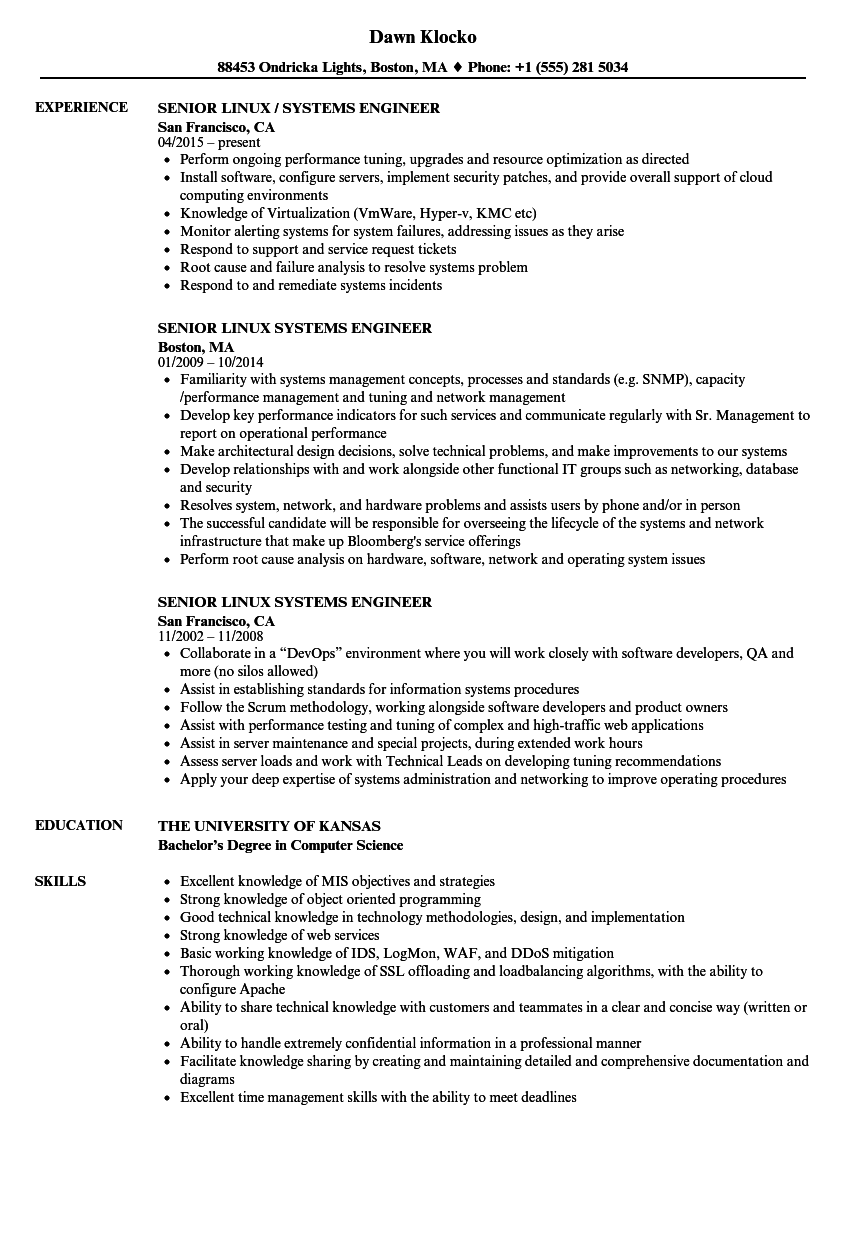 Senior Linux Systems Engineer Resume Samples | Velvet Jobs