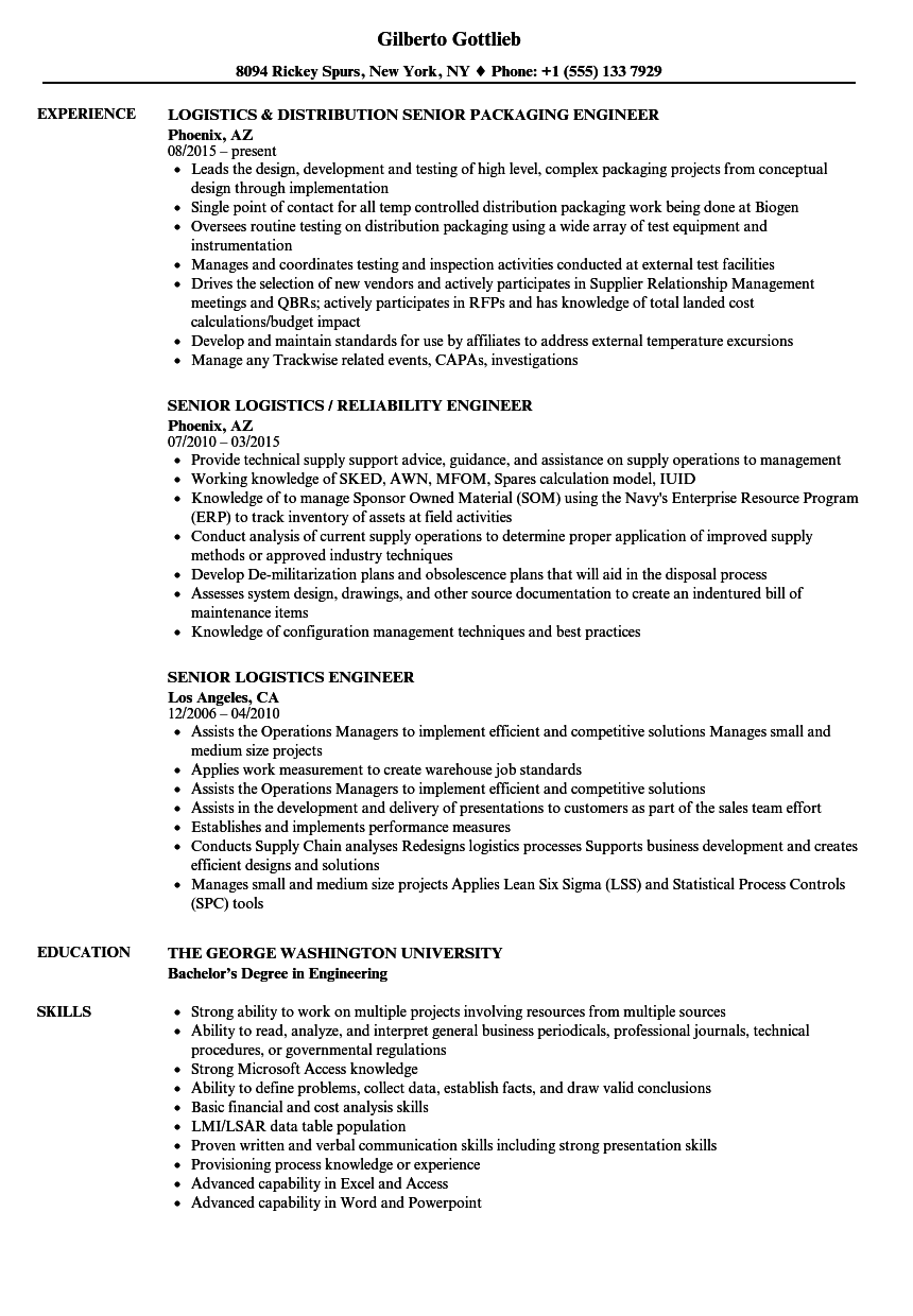 senior logistics engineer resume samples