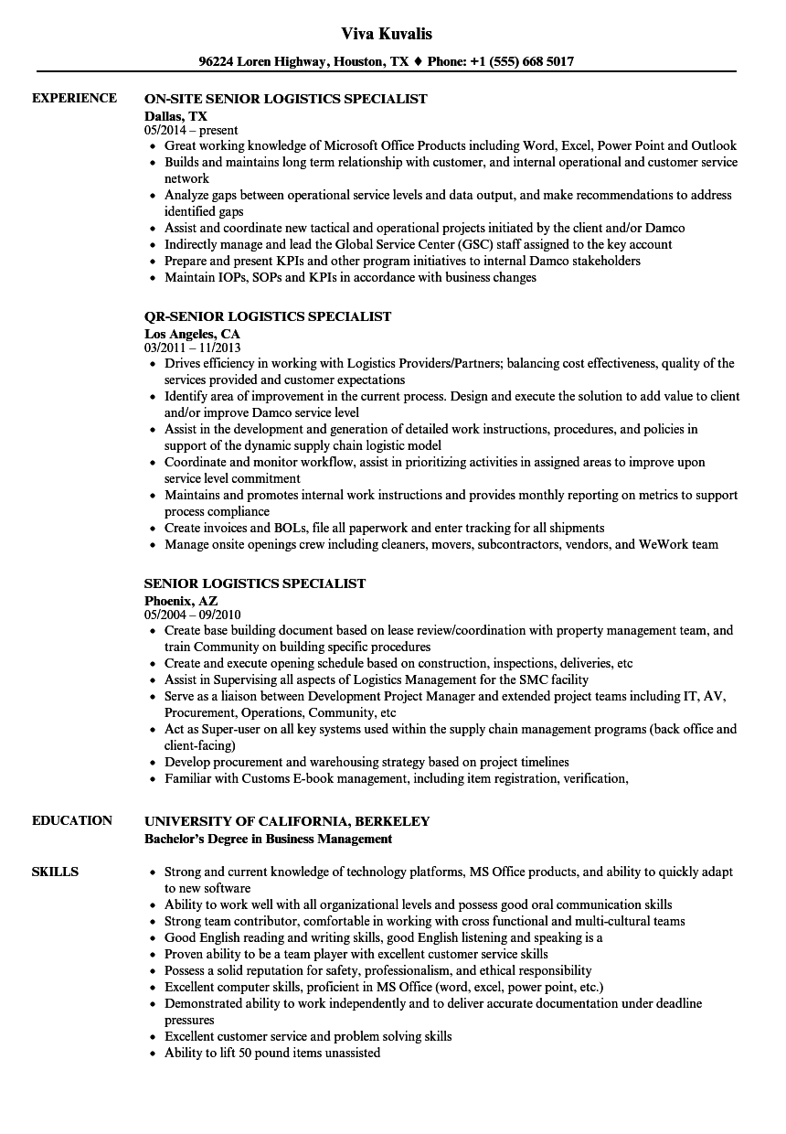 Download Senior Logistics Specialist Resume Sample As Image File