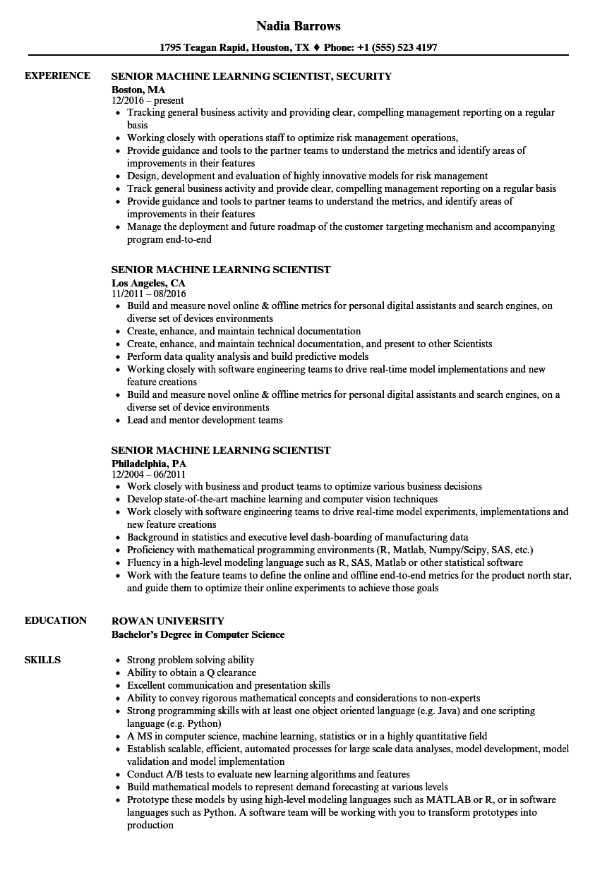 senior machine learning scientist resume samples