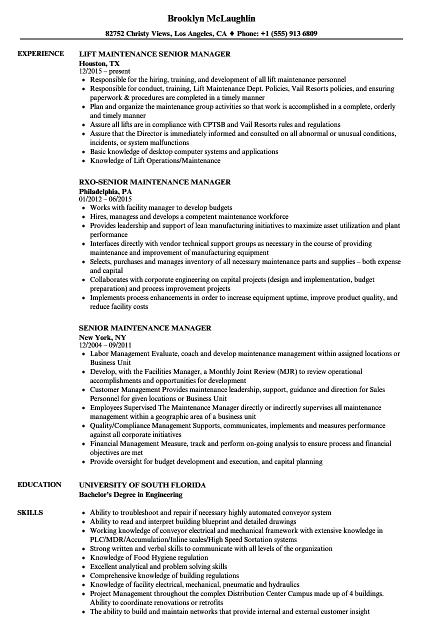 Senior Maintenance Manager Resume Samples | Velvet Jobs