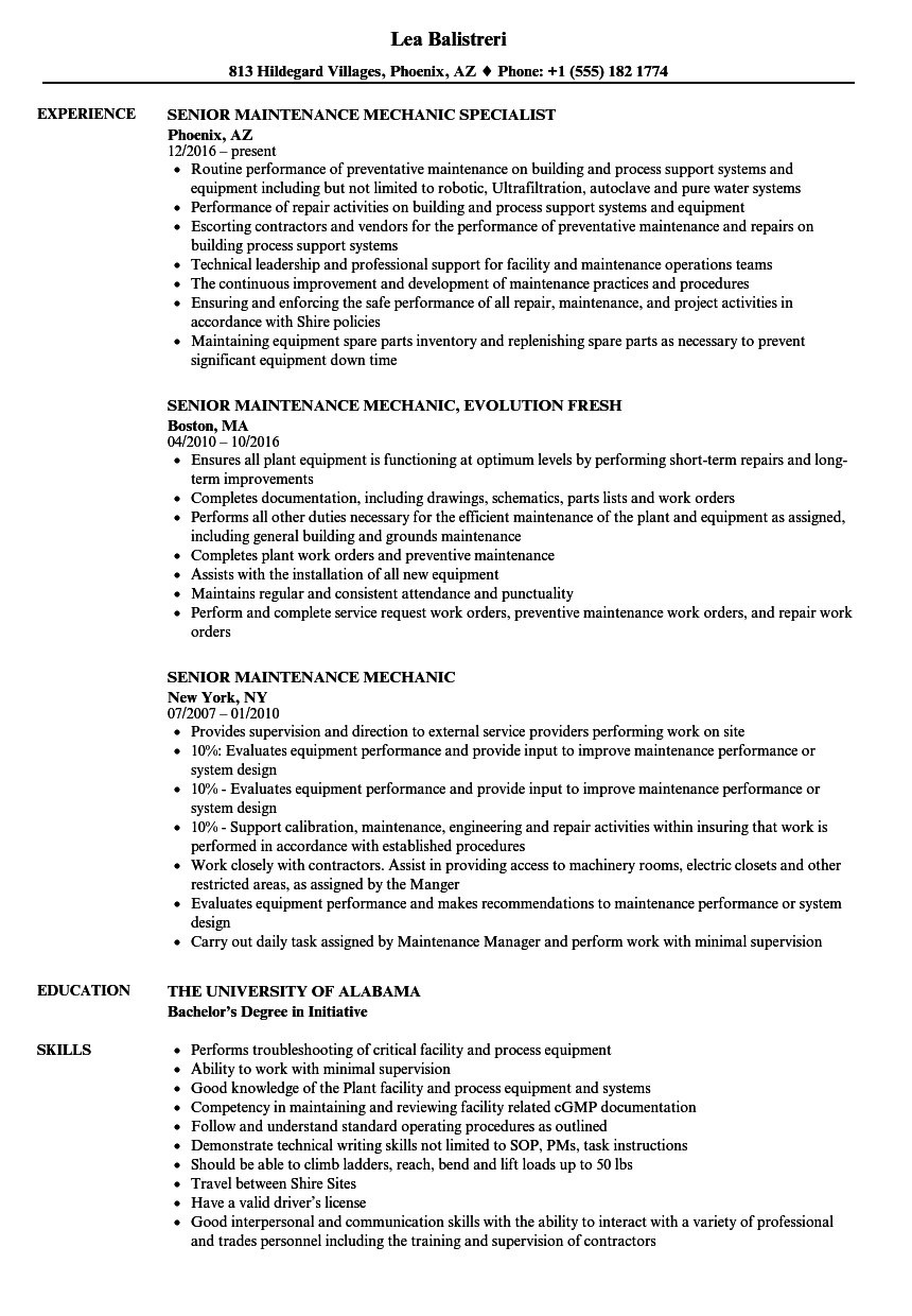 Senior Maintenance Mechanic Resume Samples | Velvet Jobs