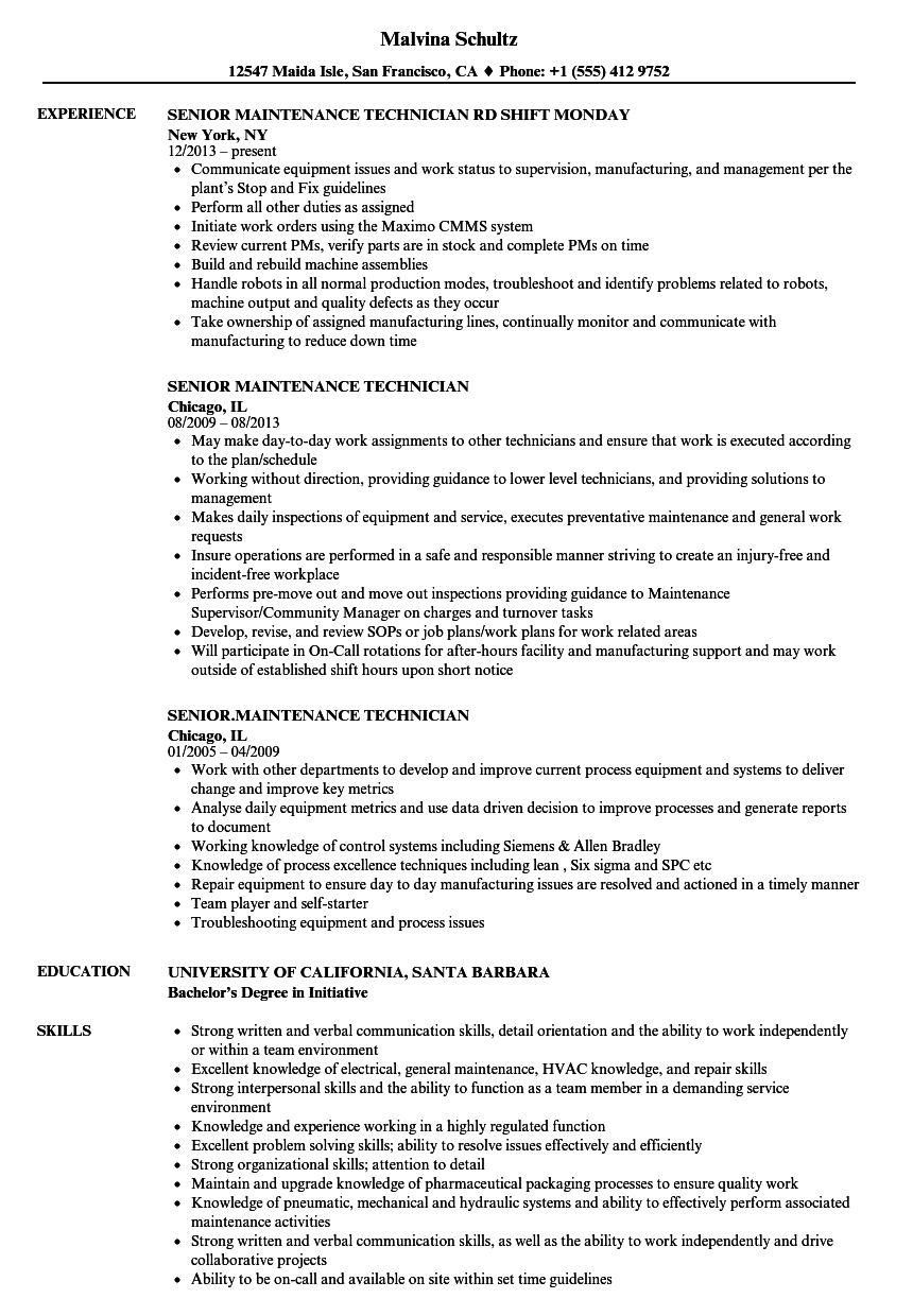 senior maintenance technician resume samples