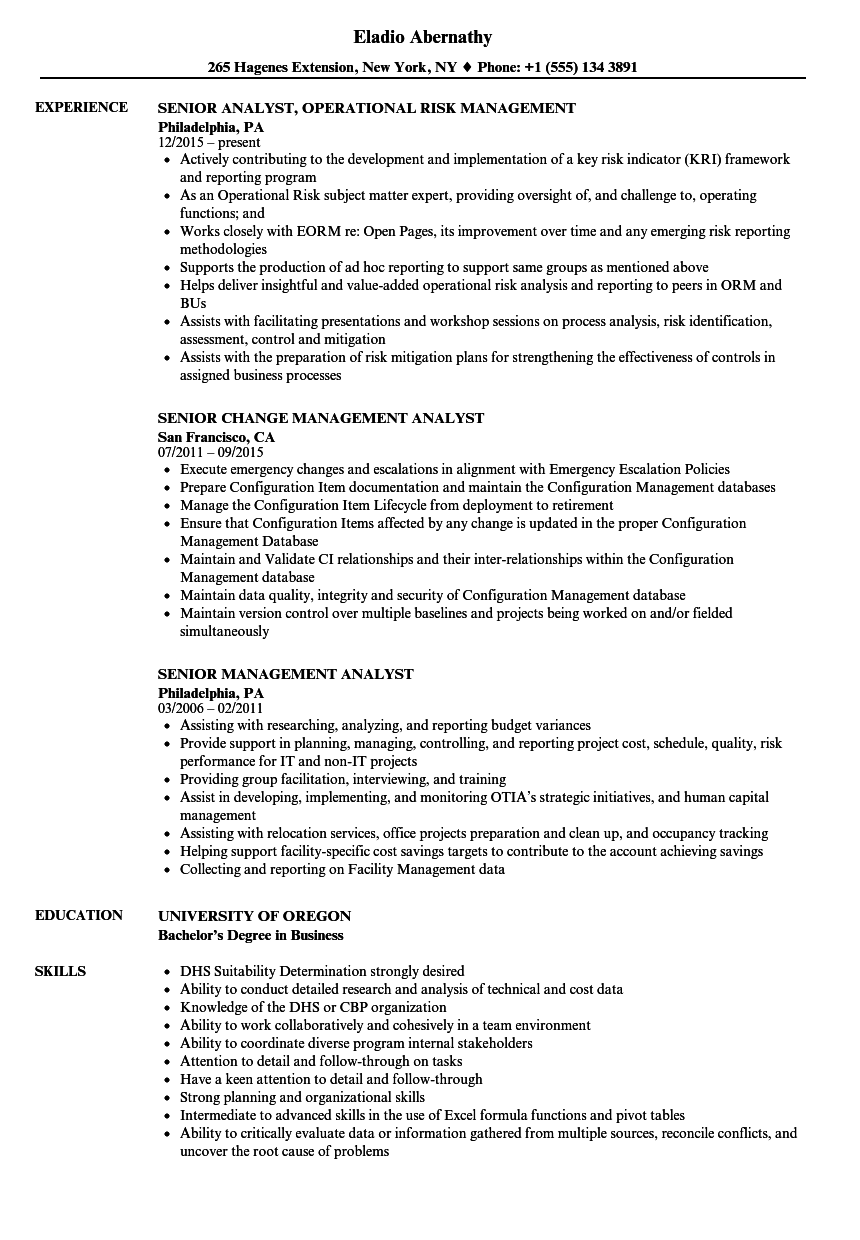 Senior Management Analyst Resume Samples | Velvet Jobs