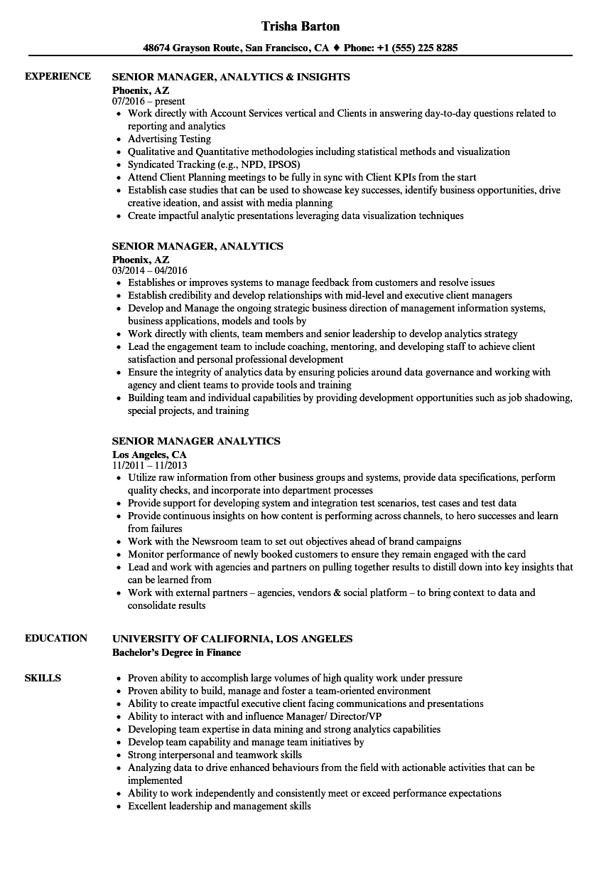 Senior Manager, Analytics Resume Samples | Velvet Jobs
