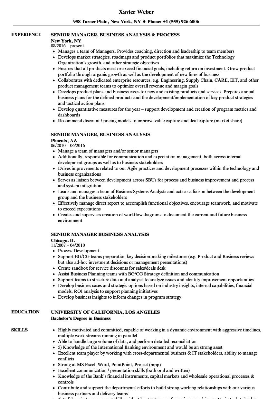 senior manager business analysis resume samples  velvet jobs
