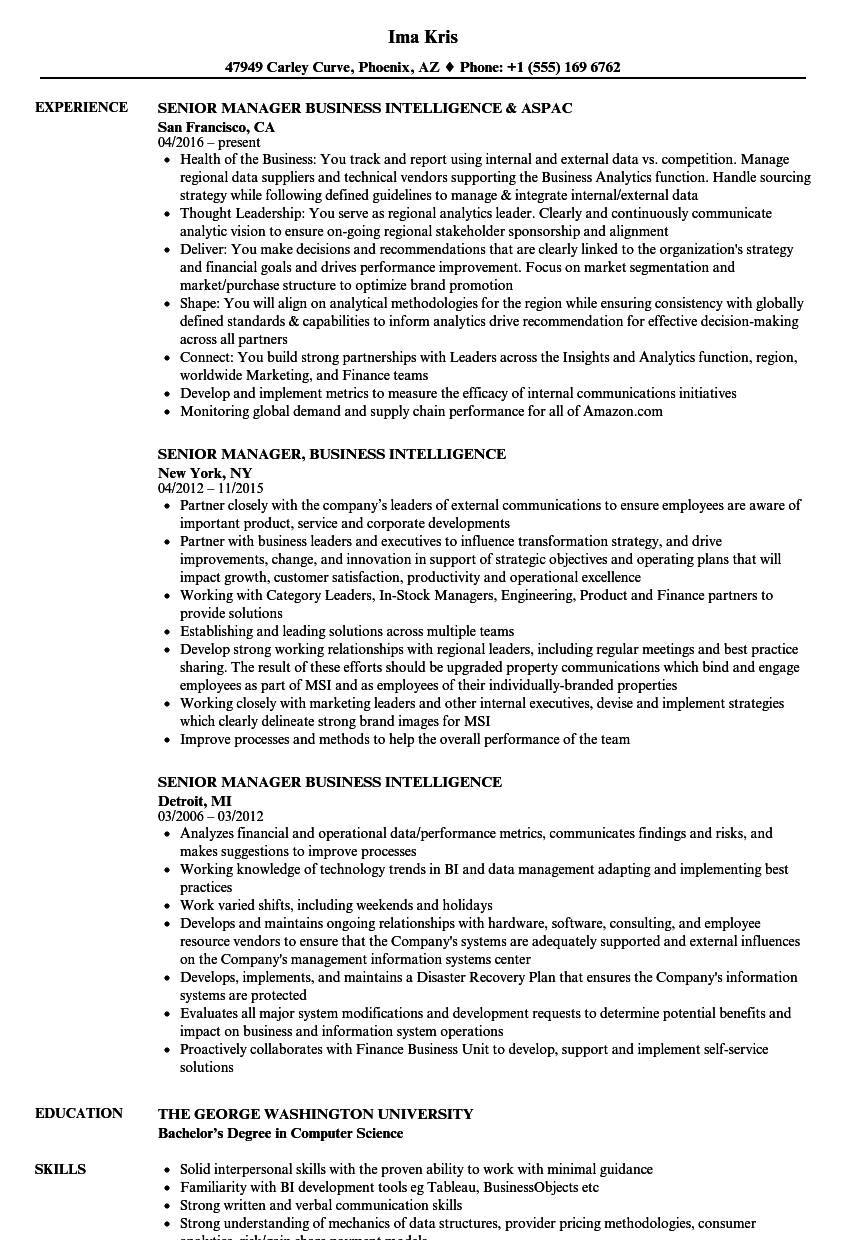 Senior Manager, Business Intelligence Resume Samples | Velvet Jobs