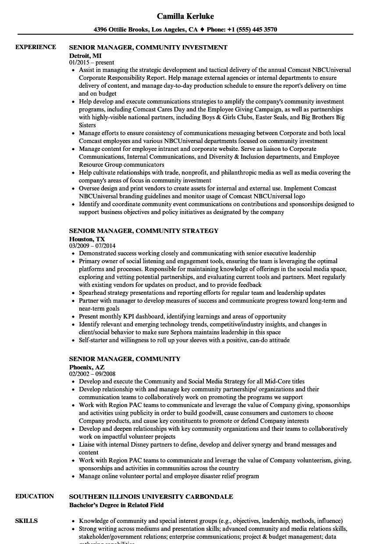 download senior manager community resume sample as image file - Community Development Manager Sample Resume