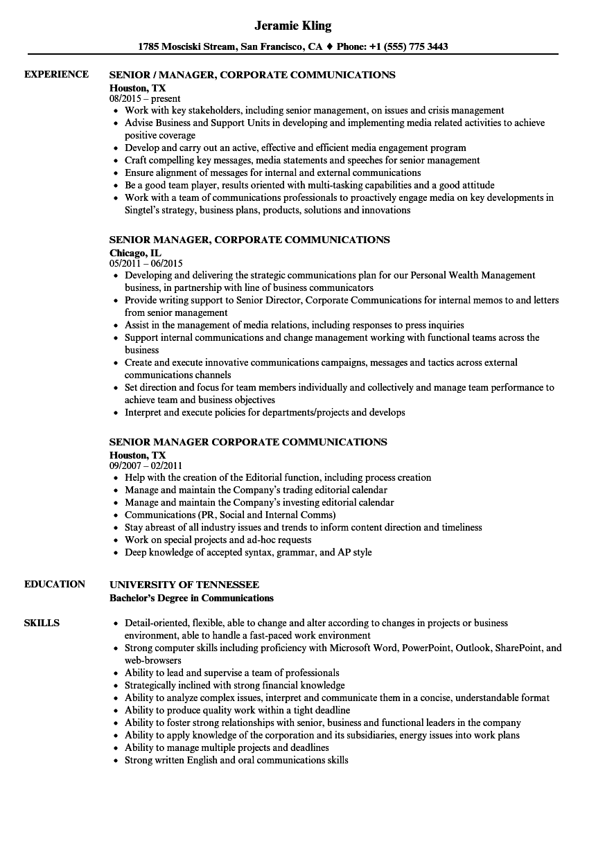 senior manager  corporate communications resume samples