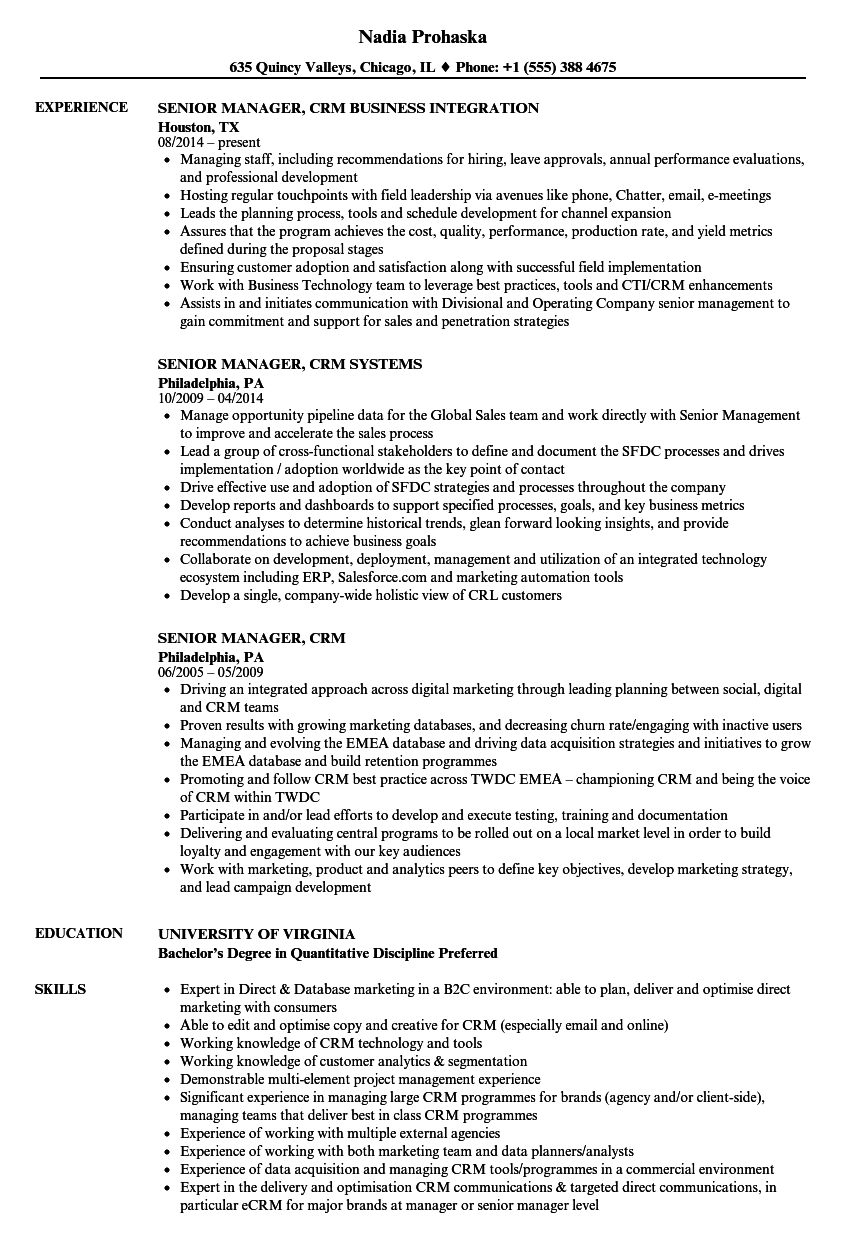 senior manager  crm resume samples