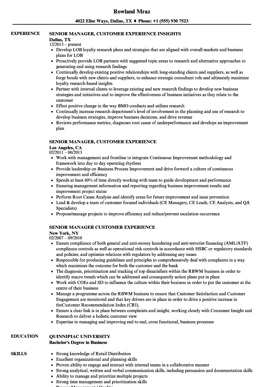 senior manager  customer experience resume samples