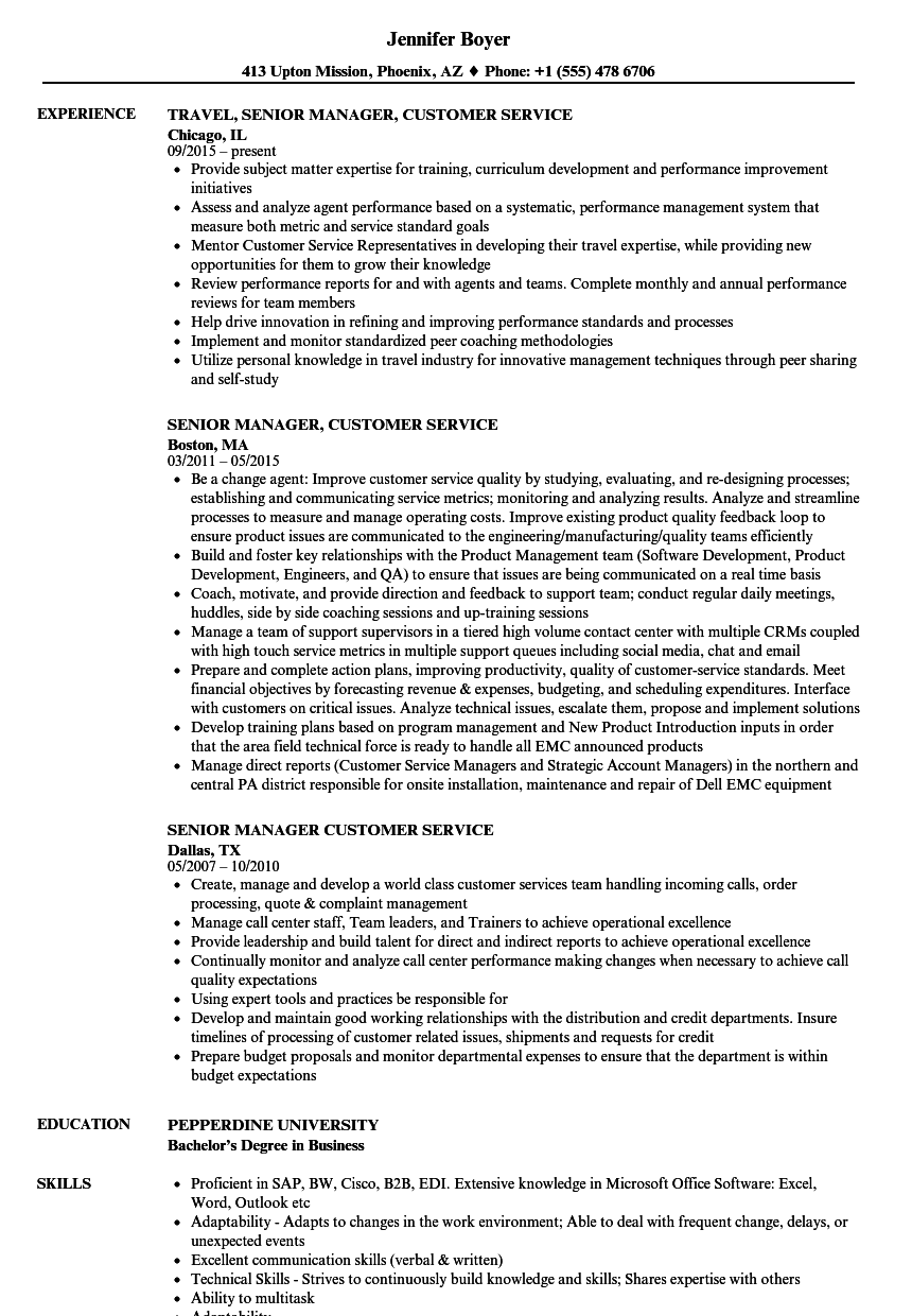 Senior Manager Customer Service Resume Samples Velvet Jobs