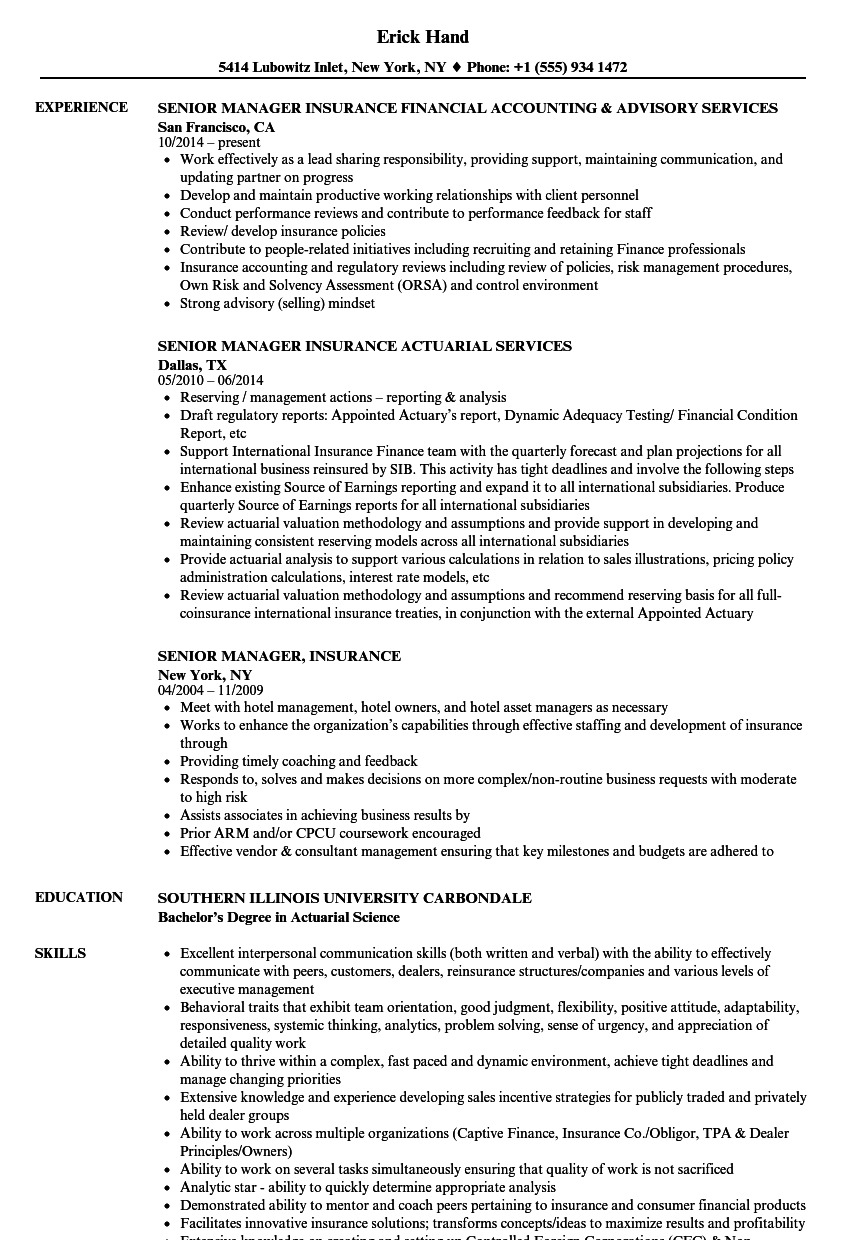 senior manager  insurance resume samples