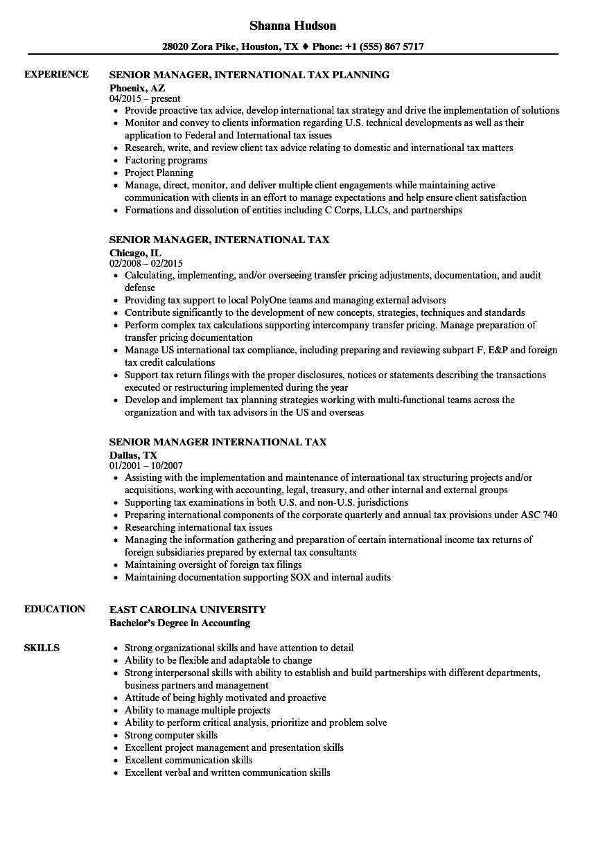 senior manager  international tax resume samples
