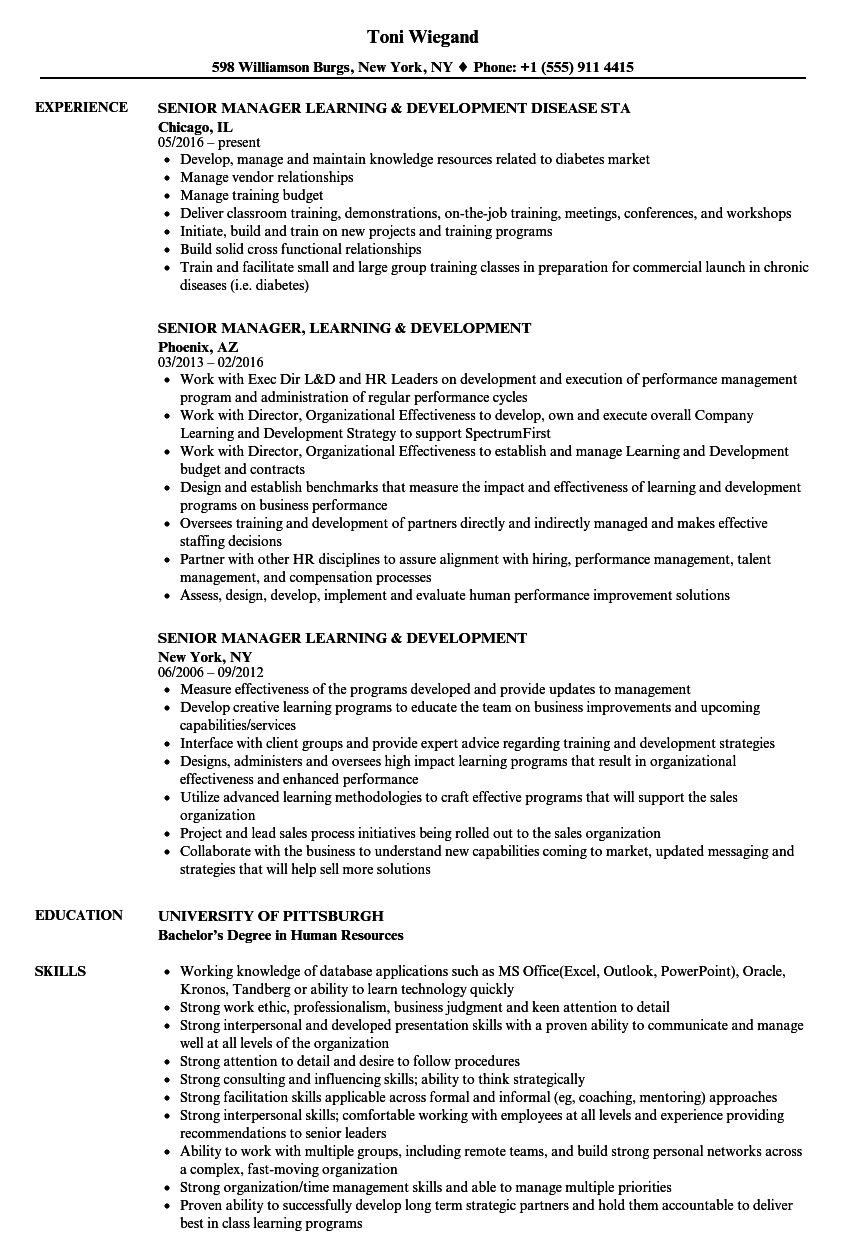 Senior Manager Learning Amp Development Resume Samples