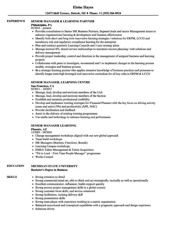 Senior Manager Learning Resume Samples Velvet Jobs