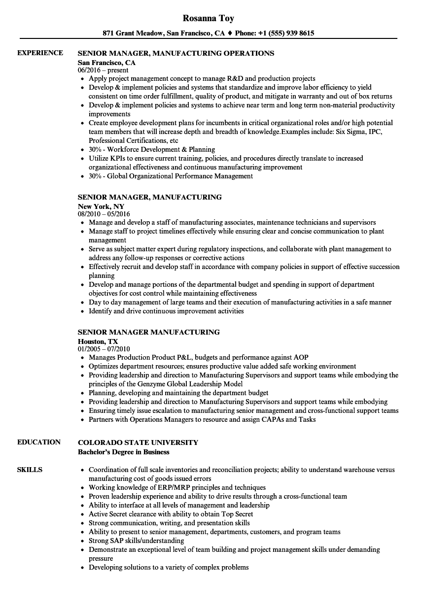 senior manager manufacturing resume samples