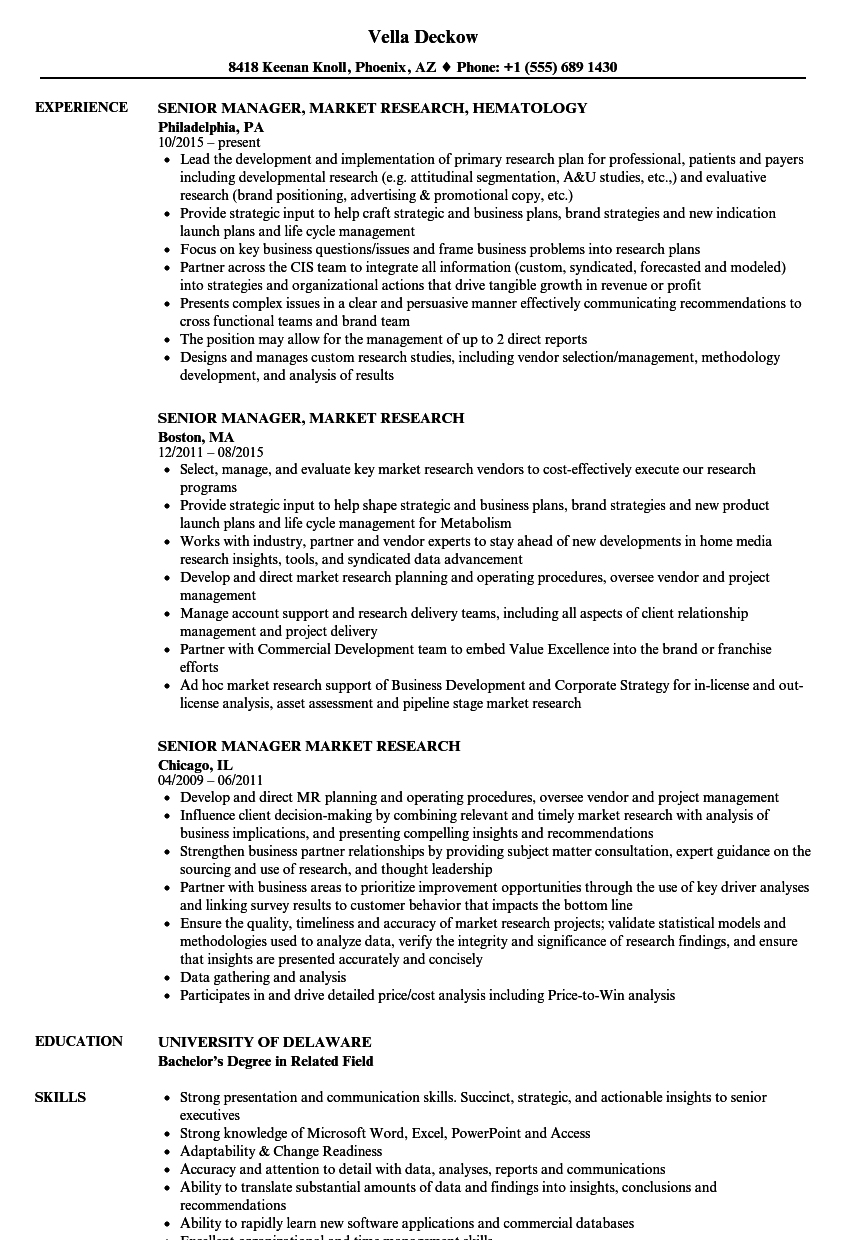 senior manager  market research resume samples