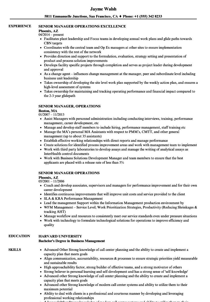 Senior Director Job Description Samples