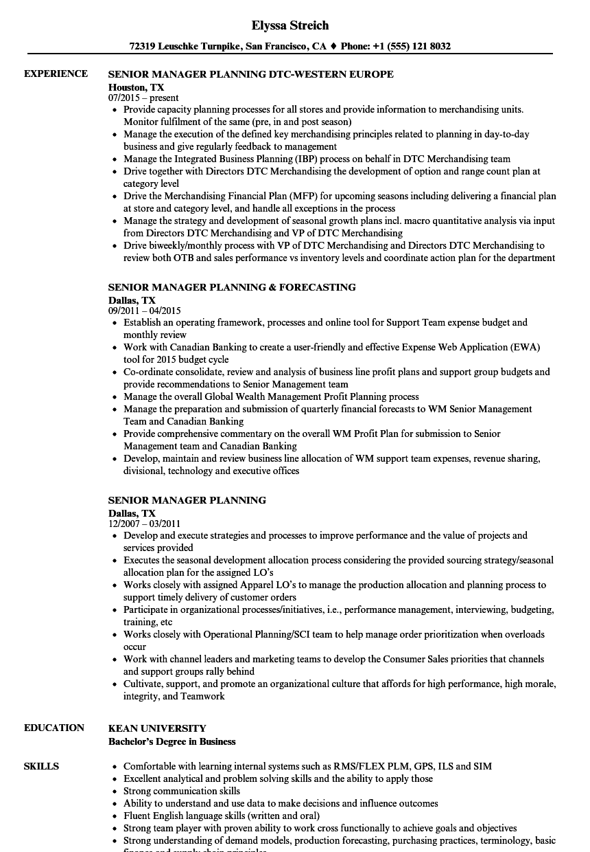 Download Senior Manager Planning Resume Sample as Image file