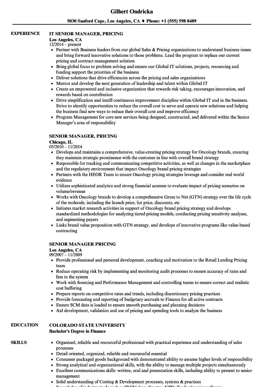 Senior Manager Pricing Resume Samples Velvet Jobs