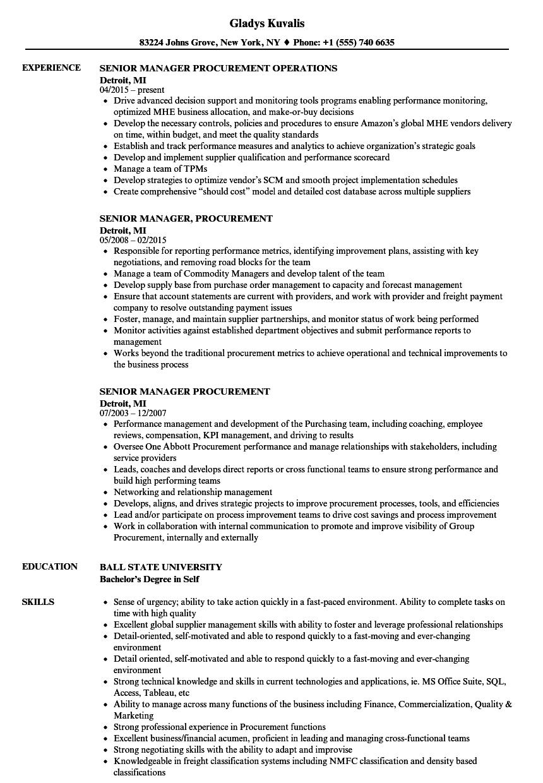 Senior Manager Procurement Resume Samples Velvet Jobs
