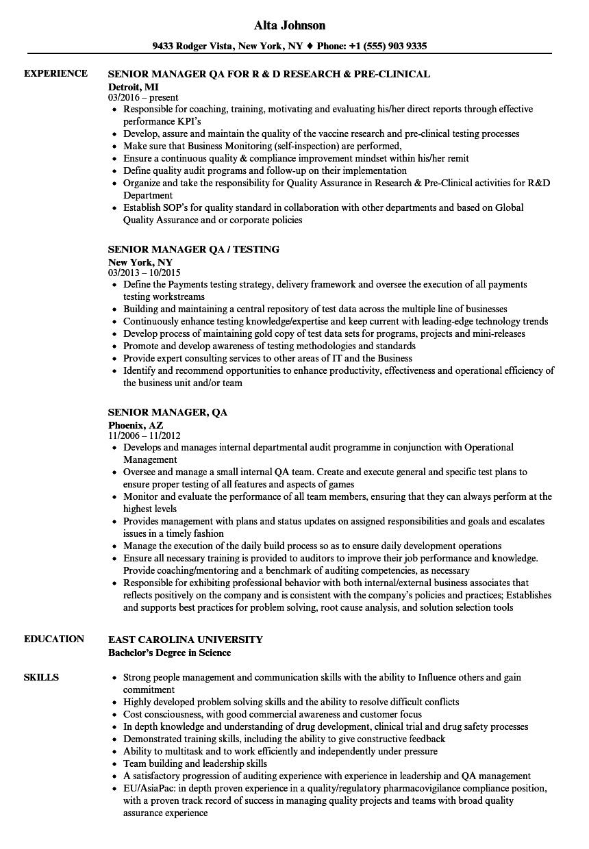 Senior Manager, QA Resume Samples | Velvet Jobs