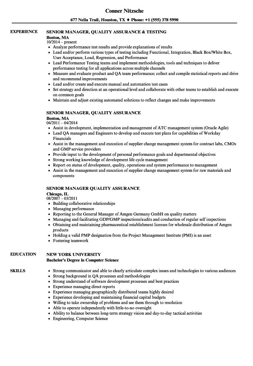 Senior Manager, Quality Assurance Resume Samples | Velvet Jobs