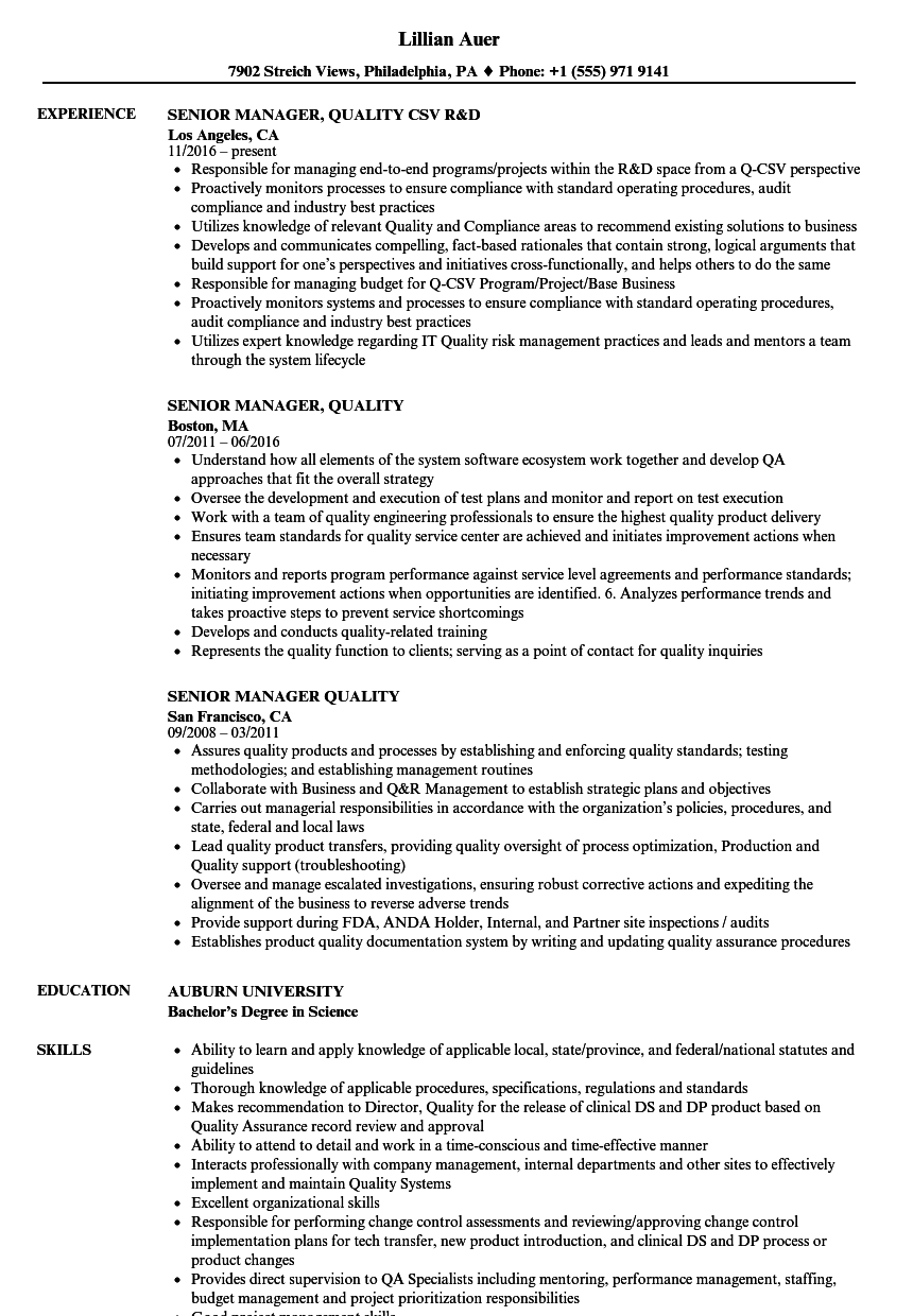 Senior Manager, Quality Resume Samples | Velvet Jobs
