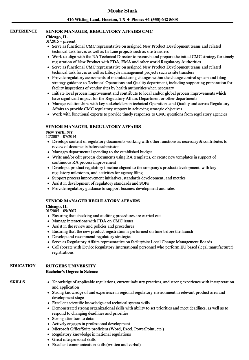 cover letter regulatory affairs specialist Position summary regulatory specialist position is responsible for all aspects of domestic regulatory duties within the john zidian company coordinate efforts associated with preparation of regulatory documents and submissions.