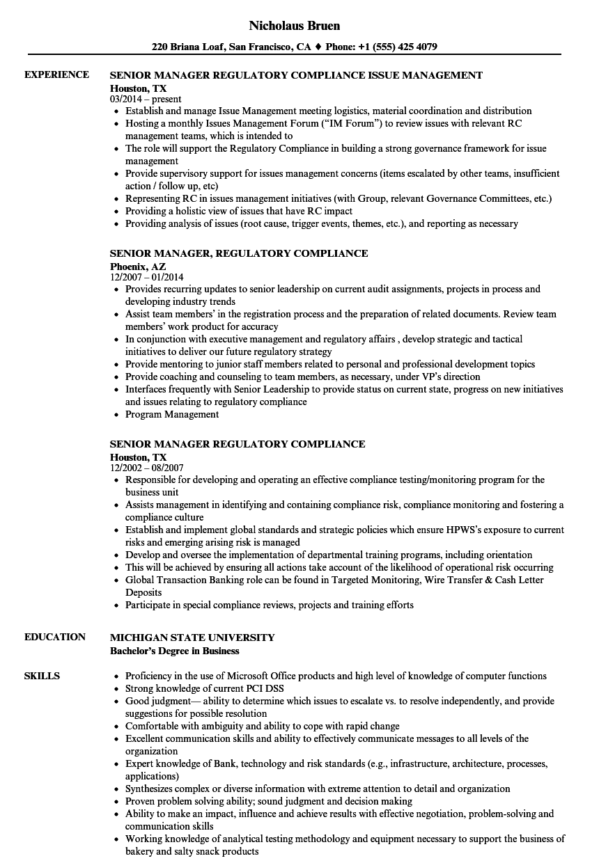 senior manager  regulatory compliance resume samples