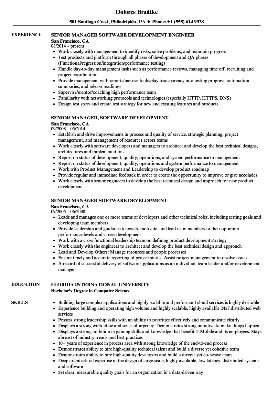 senior manager  software development resume samples