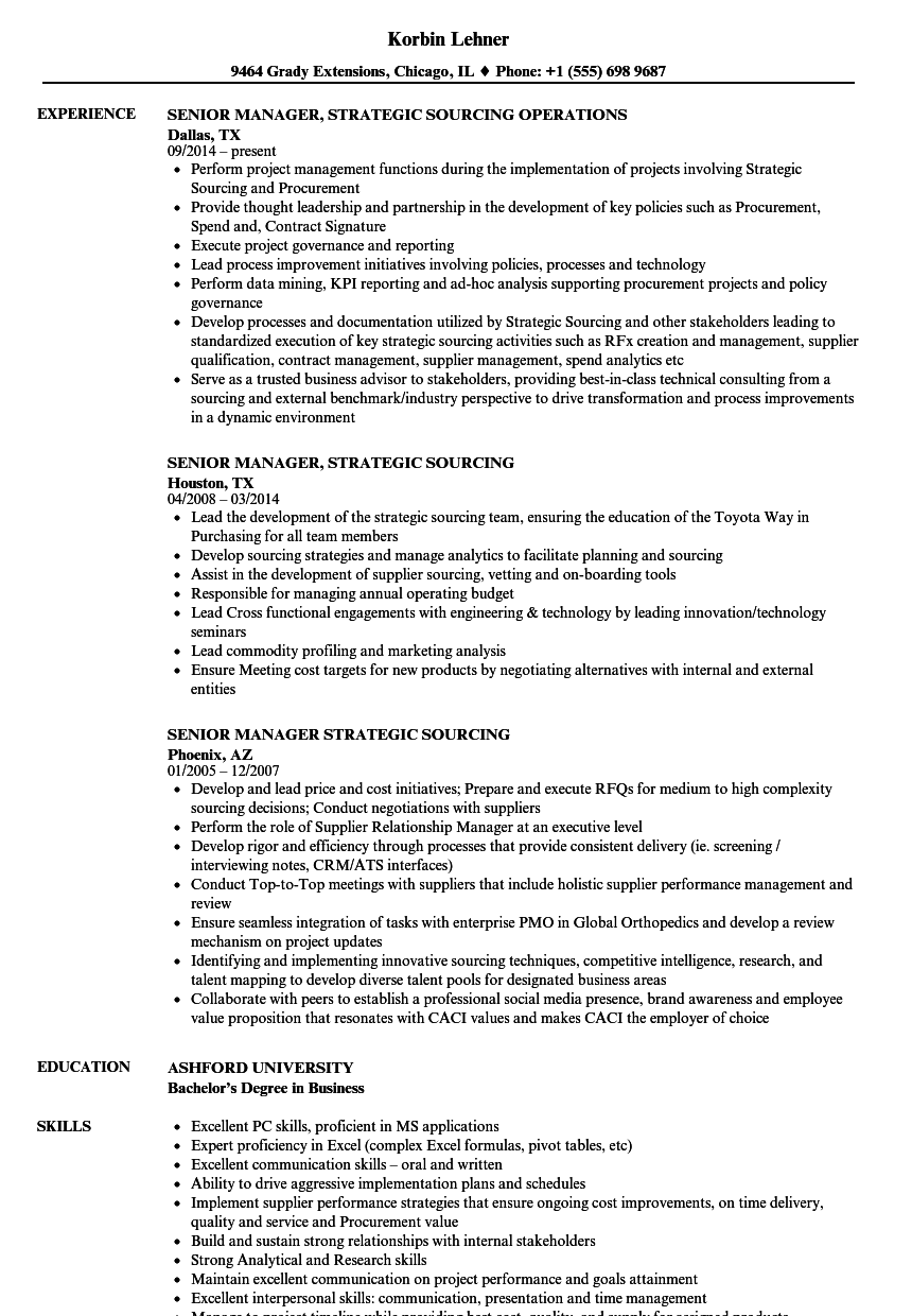 Senior Manager Strategic Sourcing Resume Samples Velvet Jobs