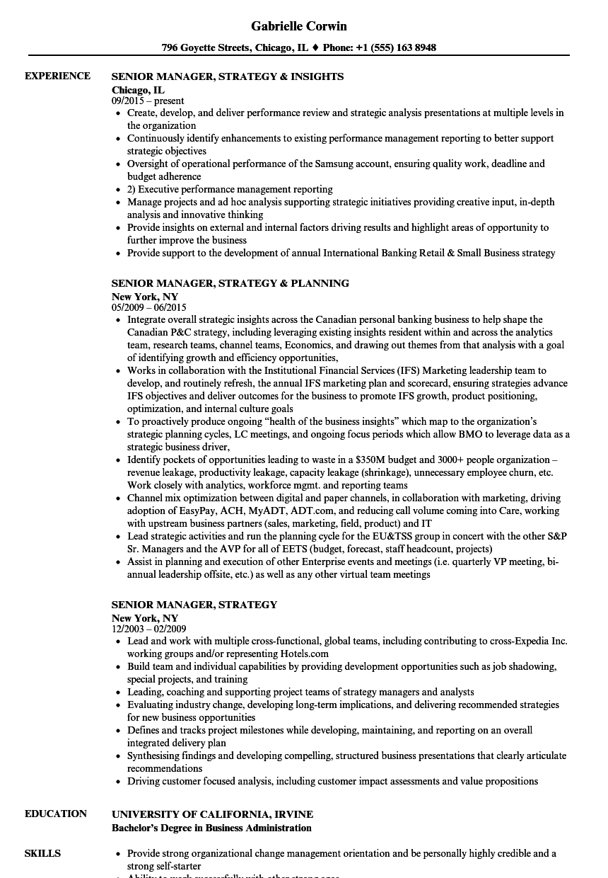 senior manager  strategy resume samples