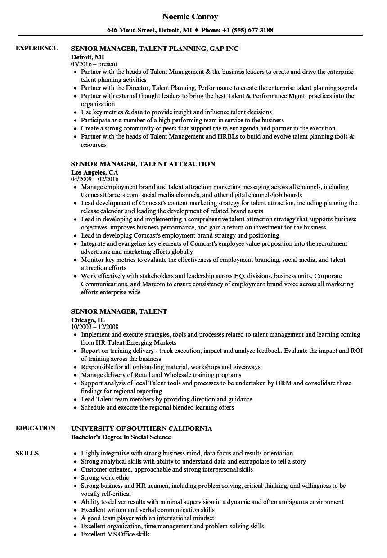 senior manager  talent resume samples