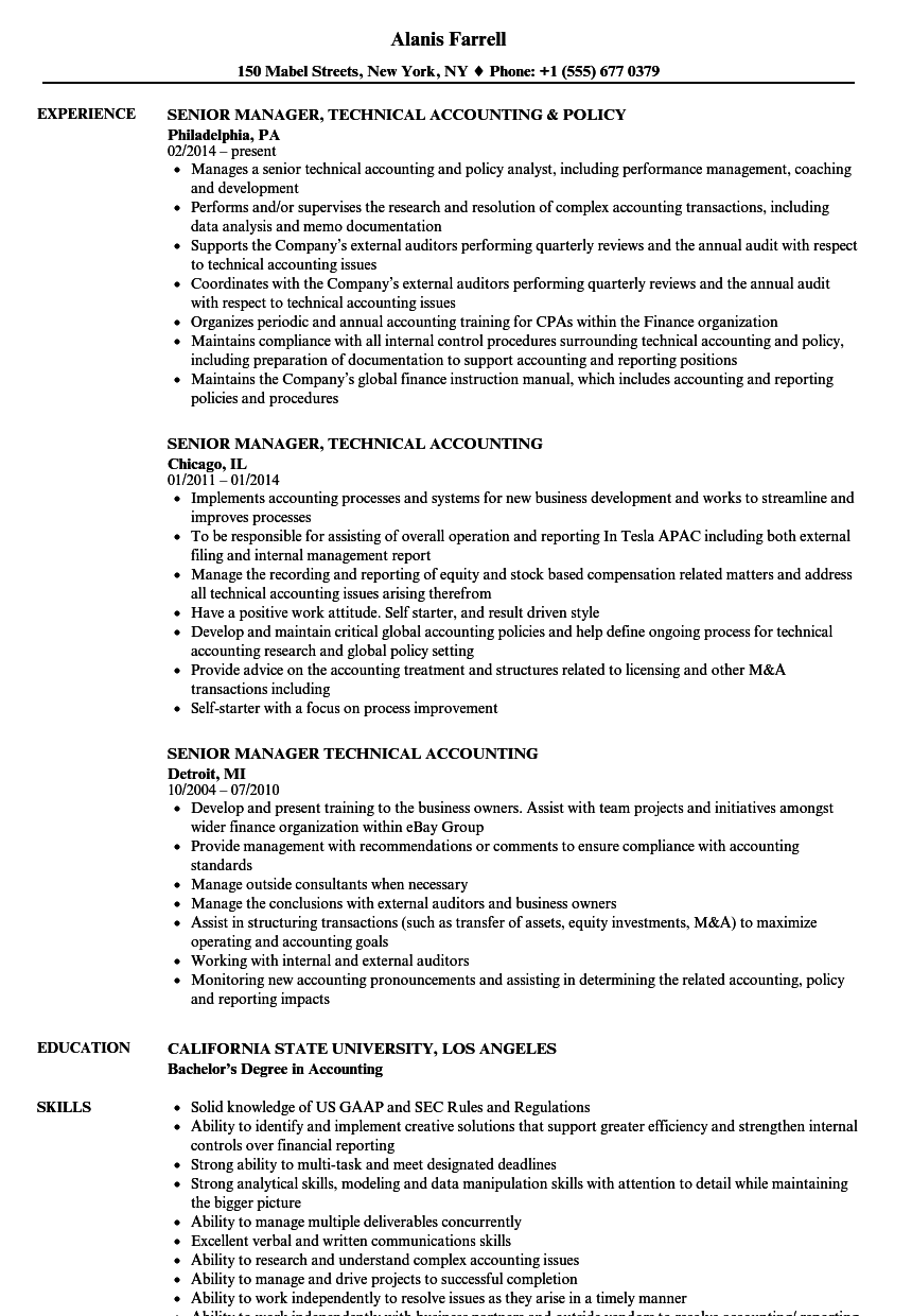 Senior Manager, Technical Accounting Resume Samples | Velvet Jobs