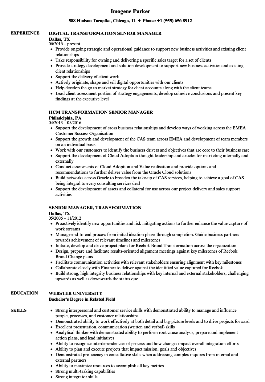 senior manager  transformation resume samples