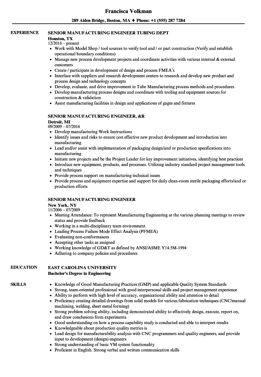 senior manufacturing engineer resume samples