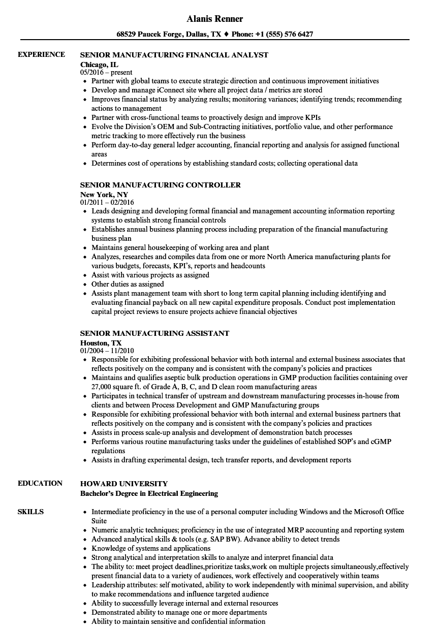 senior manufacturing resume samples
