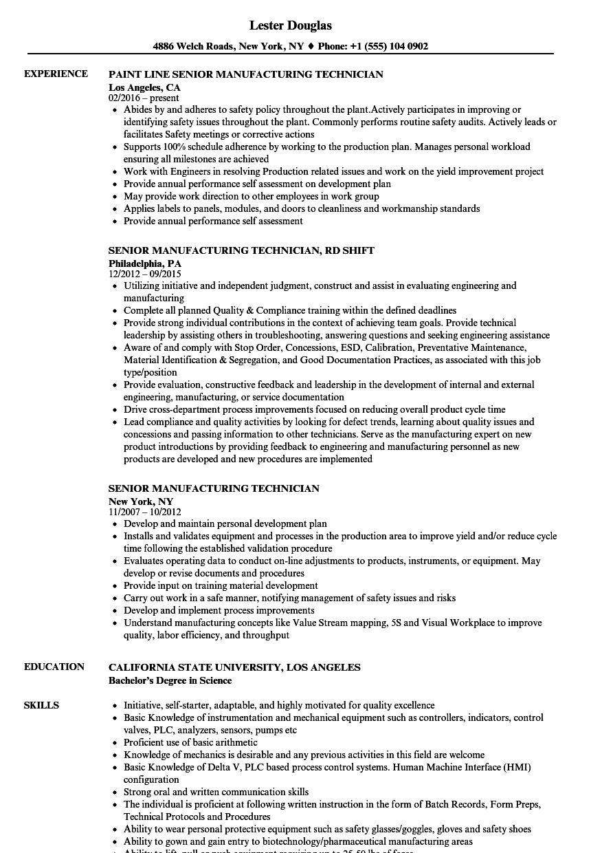 senior manufacturing technician resume samples