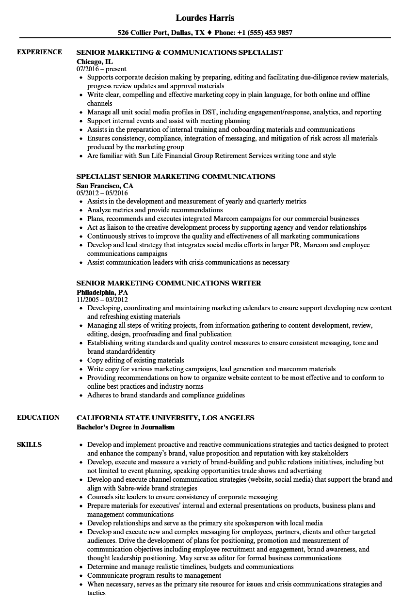 senior marketing communications resume samples