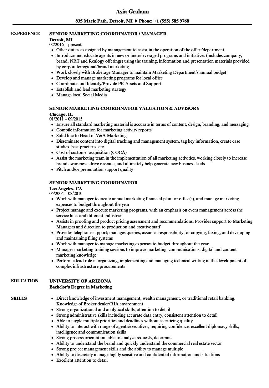 Senior Marketing Coordinator Resume Samples Velvet Jobs